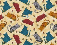 Patchworkstoff COLORFUL CATS, Katzen, Benartex