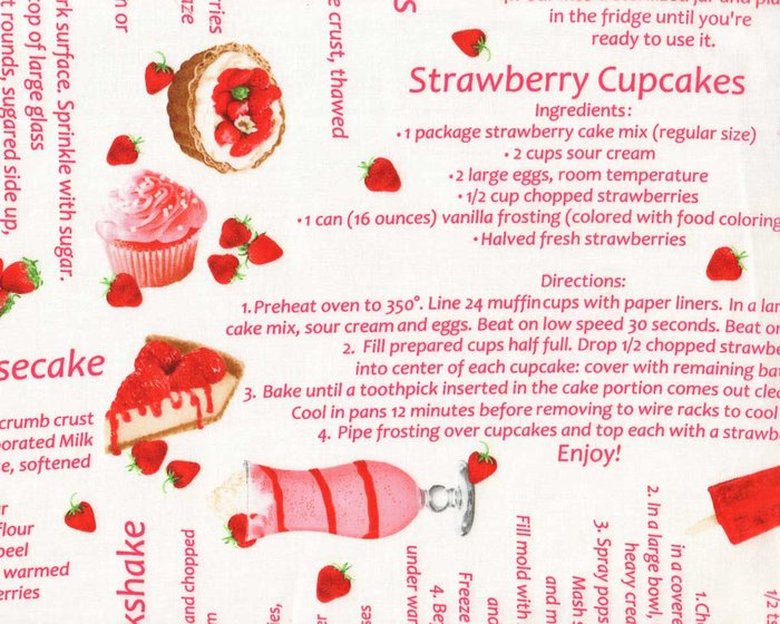 Patchworkstoff STRAWBERRY FIELDS FOREVER, Rezepte, Greta Lynn