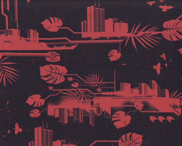Baumwolljersey URBAN JUNGLE by Thorsten Berger, pastellrot