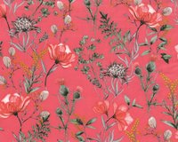 Baumwollstoff NATURAL BEAUTY, Disteln, lachsrosa, ring a...