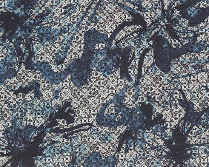 Baumwoll-Stretch CANDE, Blüten-Fliesen-Muster, nachtblau-silbergrau