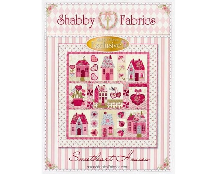 Quilt-Anleitung, Patchwork-Schnittmuster Sweetheart Houses, Shabby Farbrics