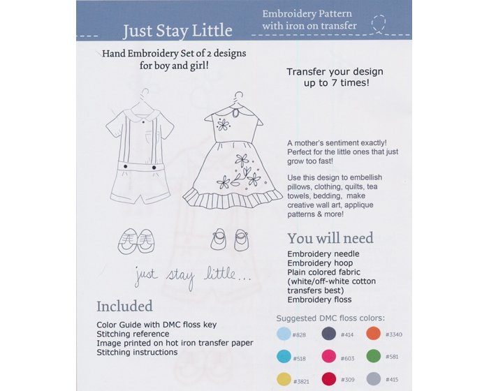 1 Restexemplar Aufbügelbares Stickmuster JUST STAY LITTLE, 2 Designs, Sarah Jane